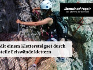 Mit einem Klettersteigset durch steile Felswände klettern